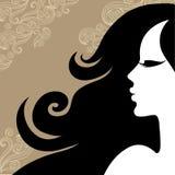 Mulher do vintage do close up com cabelo longo bonito Imagens de Stock Royalty Free