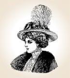 Mulher do vintage do vetor ilustração stock