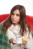 Mulher doente nova Foto de Stock Royalty Free