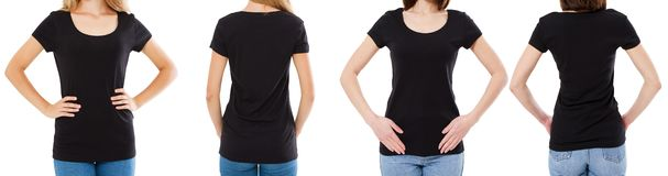 Mulher dois no t-shirt preto: opinião colhida da imagem dianteiro e traseiro, grupo do t-shirt, placa do tshirt do modelo fotos de stock royalty free