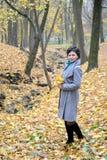 A mulher dos anos médios custa com as folhas de bordo amarelas nas mãos Fotos de Stock