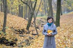 A mulher dos anos médios custa na madeira do outono entre as folhas amarelas Fotografia de Stock