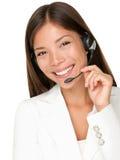Mulher dos auriculares do serviço de atenção a o cliente do serviço de informações Imagens de Stock