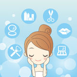Mulher dos cuidados com a pele dos desenhos animados ilustração stock
