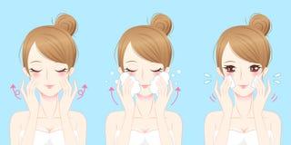 Mulher dos cuidados com a pele dos desenhos animados Foto de Stock Royalty Free
