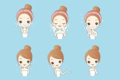 Mulher dos cuidados com a pele dos desenhos animados ilustração royalty free