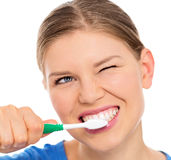 Mulher dos cuidados dentários Imagem de Stock