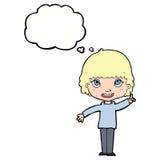mulher dos desenhos animados com ideia com bolha do pensamento Imagem de Stock