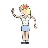 mulher dos desenhos animados com ideia inteligente ilustração stock