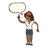 mulher dos desenhos animados com ideia inteligente com bolha do discurso ilustração royalty free
