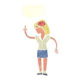 mulher dos desenhos animados com ideia inteligente com bolha do discurso ilustração stock