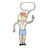 mulher dos desenhos animados com ideia inteligente com bolha do discurso ilustração do vetor