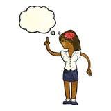 mulher dos desenhos animados com ideia inteligente com bolha do pensamento ilustração royalty free