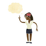 mulher dos desenhos animados com ideia inteligente com bolha do pensamento ilustração do vetor