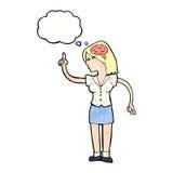 mulher dos desenhos animados com ideia inteligente com bolha do pensamento ilustração stock