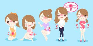 Mulher dos desenhos animados com menstruação ilustração do vetor