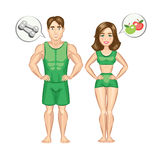 Mulher dos desenhos animados e homem saudáveis e desportivos Imagens de Stock