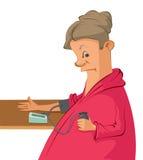 A mulher dos desenhos animados mede sua pressão sanguínea Fotos de Stock