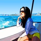 A mulher dos desenhos animados monta em um barco no mar ao longo da cidade Imagens de Stock Royalty Free