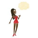 mulher dos desenhos animados no vestido cor-de-rosa com bolha do pensamento Fotos de Stock