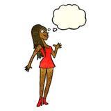 mulher dos desenhos animados no vestido cor-de-rosa com bolha do pensamento Imagem de Stock
