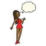 mulher dos desenhos animados no vestido cor-de-rosa com bolha do pensamento Fotos de Stock Royalty Free