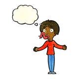 mulher dos desenhos animados que diz mentiras com bolha do pensamento Fotografia de Stock