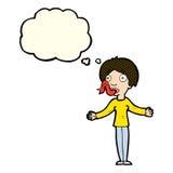 mulher dos desenhos animados que diz mentiras com bolha do pensamento Fotos de Stock Royalty Free