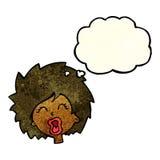 mulher dos desenhos animados que grita com bolha do pensamento Imagem de Stock Royalty Free