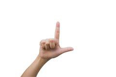 Mulher dos gestos de mão Fotografia de Stock