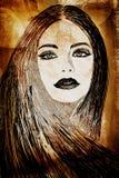 Mulher dos grafittis na parede ilustração do vetor