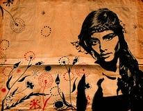 Mulher dos grafittis na parede ilustração stock