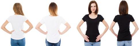 Mulher dos t-shirt configurados, a dianteira e a traseira das vistas no tshirt preto e branco, trocista, espaço da cópia, camisa  fotos de stock royalty free