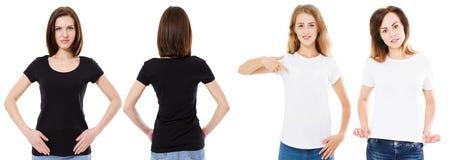 Mulher dos t-shirt configurados, a dianteira e a traseira das vistas no tshirt preto e branco, trocista, espaço da cópia, camisa  imagens de stock