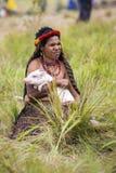 Mulher dos tribos de Dani no festival anual do vale de Baliem imagem de stock
