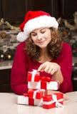 Mulher durante o Natal Fotografia de Stock