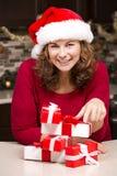 Mulher durante o Natal Foto de Stock Royalty Free