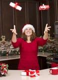 Mulher durante o Natal Fotos de Stock Royalty Free