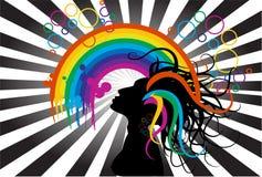 Mulher e arco-íris ilustração stock