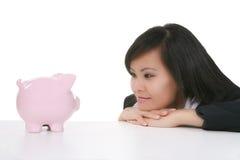 Mulher e banco Fotografia de Stock Royalty Free