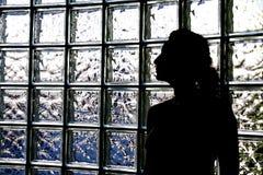 Mulher e blocos de vidro imagem de stock royalty free