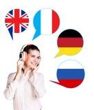 Mulher e bolhas com bandeiras de países Fotos de Stock Royalty Free