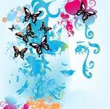 Mulher e borboletas Fotos de Stock Royalty Free