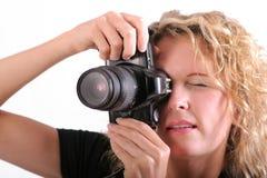 Mulher e câmera fotografia de stock