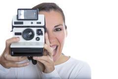 Mulher e câmera instantânea Imagem de Stock Royalty Free