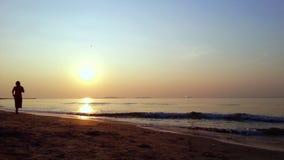 Mulher e cão que correm na praia quando curso no mar filme