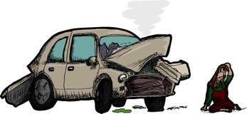 Mulher e carro destruído Foto de Stock