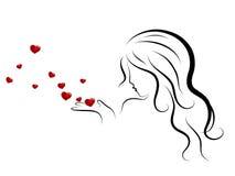Mulher e corações Foto de Stock