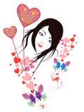 Mulher e corações Fotografia de Stock