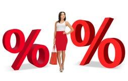 Mulher e dois sinais de por cento vermelhos grandes Imagem de Stock